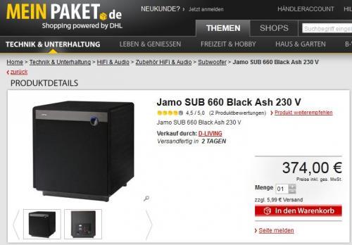 aktiver Subwoofer Jamo SUB 660 Black Ash