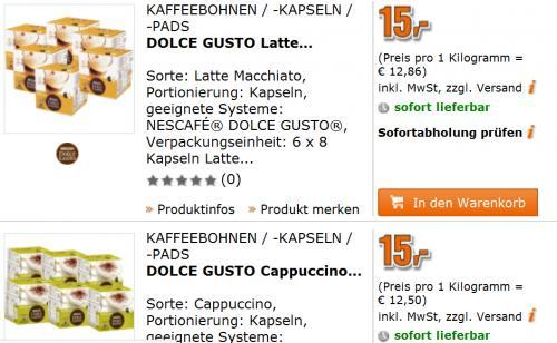 Hammer: Dolce Gusto Kapseln für 2,5 € bei Saturn (Cappuccino, Latte Macchiato) im 6er-Pack für 15 €