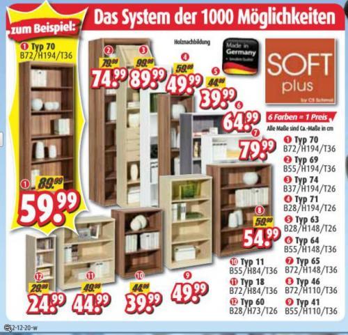 diverse (Bücher-)Regale von Soft plus by CS Schmal [Roller Möbelmärkte]
