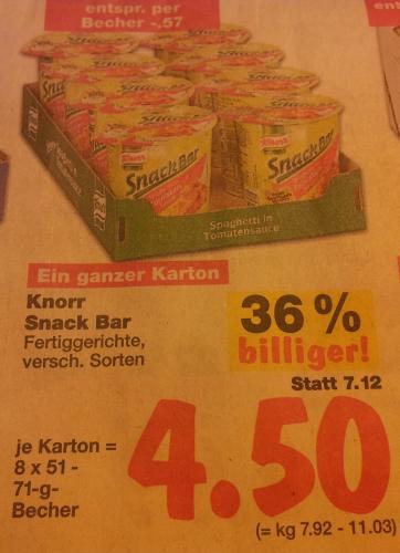 8x Knorr Snack Bar für 4,50 statt 7,12€ [lokal Kaufland Cottbus]