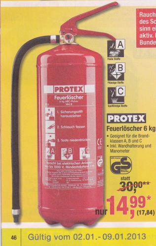 [OFFLINE] Protex Feuerlöscher 6kg mit Manometer bei Metro noch mal 2,15 günstiger