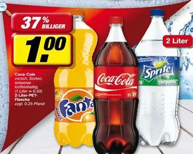 Coca Cola / Fanta / Sprite 2L Flasche (0,50€/L) @Toom SB-Warenhaus für 1,00€
