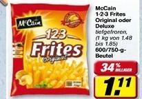 McCain 1-2-3 Frites Deluxe @ Toom Markt vom 31.12.2012 - 05.01.2013 für 0,11 EUR bzw. bei Globus kostenlos mit Coupon
