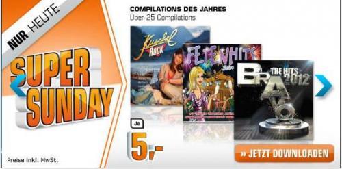 SuperSunday auf saturn.de: Viele Compilations zum Download für 5€! z.B.: Bravo Hits 2012. Kuschelrock 26, Kontor 13/01, Bravo Hits 79, Fetenhits Silverster 2012 u.a.