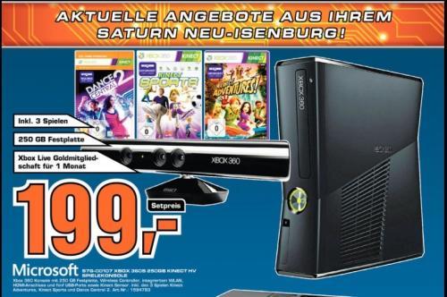 [Lokal - Saturn in Neu-Isenburg] Xbox 360 250GB + Kinect + 3 Spiele + 1 Monat Live