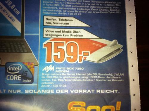 FritzBox 7390 im aktuellen Saturn Prospekt( Aachen) für 159.-€