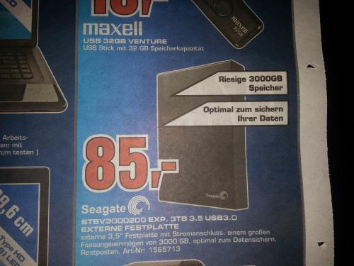 "3 TB  Seagate Festplatte 3,5 ""  USB 3 @ Saturn Aachen"