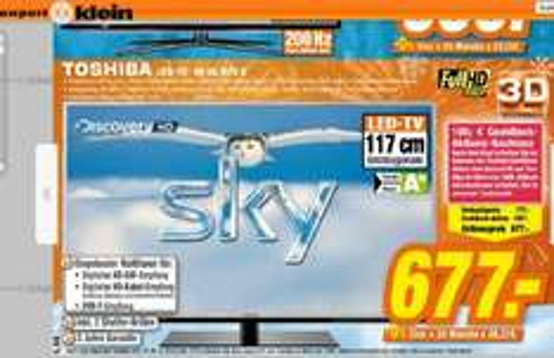 [ LOKAL expertklein ] Toshiba 46UL975G 46 Zoll LED-Backlight (Edge-lit), 3D-fähig (aktiv), 2D-3D-Konverter, 200Hz, DLNA-Client, HbbTV, USB-Recorder, Webservices, DivX-/DivX-HD/MKV-Unterstützung4x HDMI 1.4  @expertklein