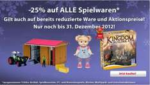 Bei Interspar.at gibt es bis zum 31.12. 25% Rabatt auf Spielwaren