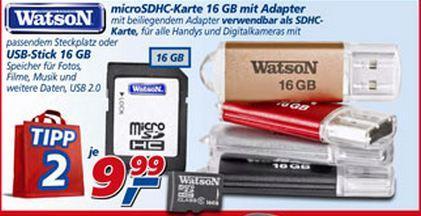 16 GB MicroSD karte mit adapter oder 16 GB USB stick für 9.99 € im Real Offline