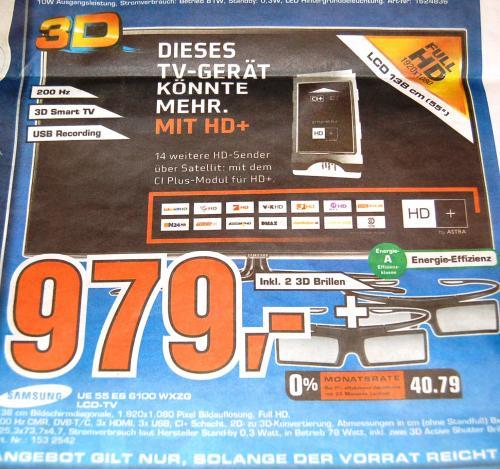 (Lokal?) Samsung LED/LCD TV  UE 55 ES 6100 WXZG 979€ Saturn Prospekt Aachen