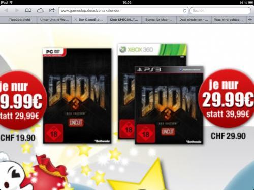 Adventskalender Gamestop: Doom 3 BFG Edition 29,99€ (PC 19,99€) und 20% Rabatt auf Partyspiele