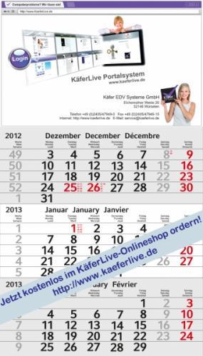 Kostenloser 3-Monats-Wandkalender @kaeferlive.de /wieder verfügbar!