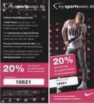 20% Rabatt auf NIKE bis 15.01.2011 @my-sportswear.de
