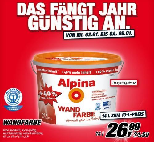 Toom-Baumarkt - 14L Alpina Wandfarbe Weiß für 26,99€