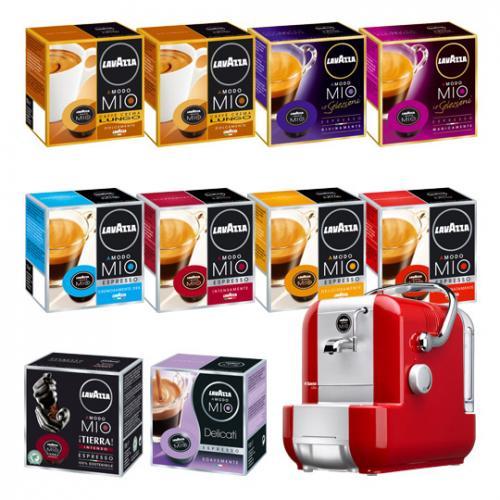 Espressomaschine Saeco A MODO MIO 1100 Extra rot + 10 Kapselpackungen