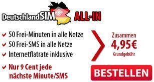 DeutschlandSIM All-in-50 OHNE Vertragslaufzeit - 50 Minuten / 50 SMS / 200 MB @ Amazon.de