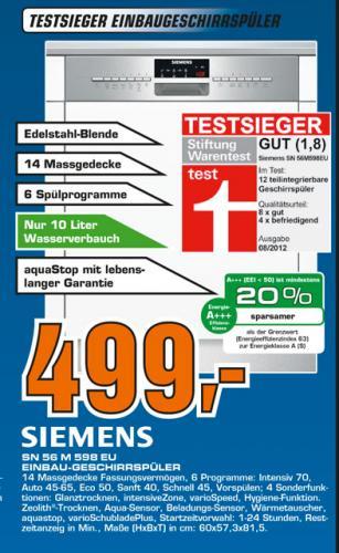 (Lokal Hannover) Saturn: Geschirrspülmaschine Siemens SN56M598EU