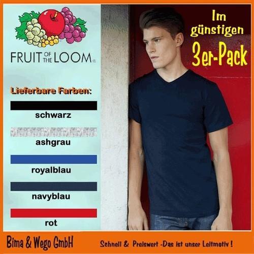 6x Herren Basic T-Shirts mit V-Ausschnitt (Fruit of the Loom)