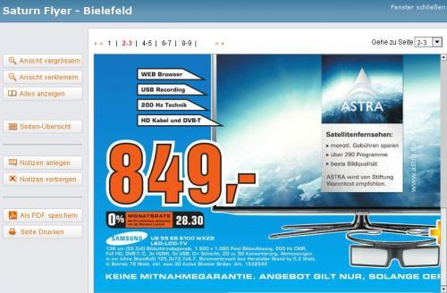 [ Saturn Bielefeld ]   Samsung UE55ES6100 138 cm (55 Zoll) 3D LED-Backlight-Fernseher, Energieeffizienzklasse A+ (Full-HD, 200Hz CMR, DVB-T/C, Smart TV) schwarz  849€  +   2 3D Brillen