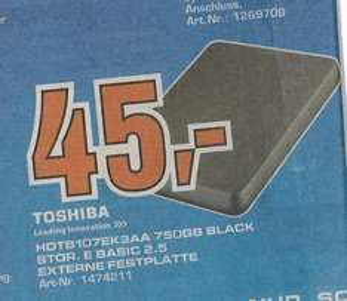 [Lokal Oldenburg?] Saturn: Toshiba 750gb 2,5 externe Festplatte, USB 3.0