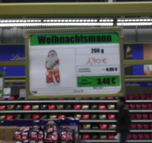 [lokal Aachen] Lindt Weihnachtsmann 200g 65% unter UVP mit kurzem MHD Lindt Werksverkauf