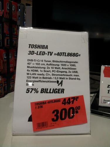 [LOKAL HH Winterhude] @ TOOM Toshiba 40TL868G für 300€