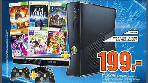 [lokal Reutlingen] Saturn: Xbox 360, 250GB, Kinect, 6 Spiele, 2 Controller! 199 Euro!!