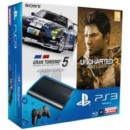 SONY PS3 SUPER-SLIM 500GB + 2 Spiele, schwarz für 299,95 CHF (~250€)