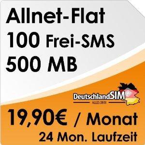 O2 Allnet Flat, 100 SMS + 500MB im Monat inklusive! 19,90/Monat