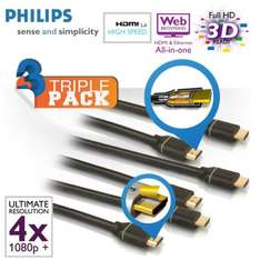 3er Pack Philips High Speed HDMI 1.4 3D 4K 2 Meter Kabelx09