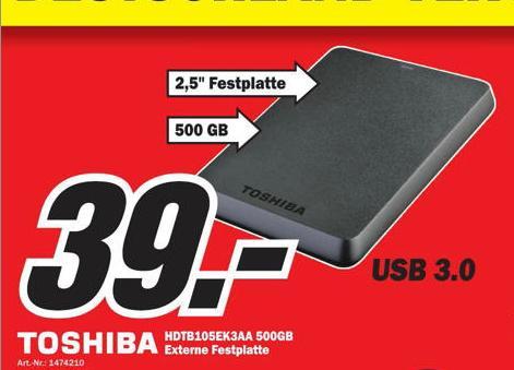 [Mediamarkt Bielefeld] Toshiba STOR.E Basics 500GB Externe Festplatte 2,5  USB 3.0  39€