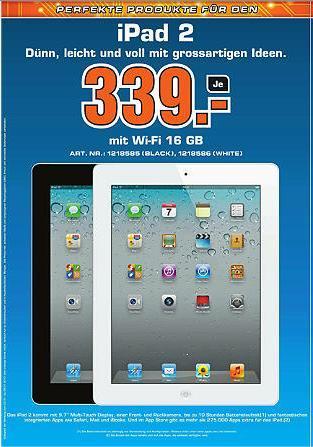 [Schweiz] @ Saturn iPad 2 16GB WiFi schwarz od. weiss