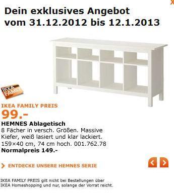 IKEA  Hemnes Ablagetisch  Family Angebot