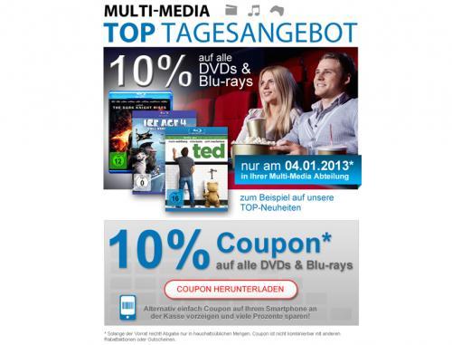 10 % auf alle dvds und Blu Ray bei Müller (offline) am 04.01.2013