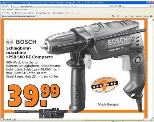 BOSCH PSB 500 RE 39,99 Euro - mit Hornbach Preisgarantie für 36 Euro (Idealo Preis >50 Euro)