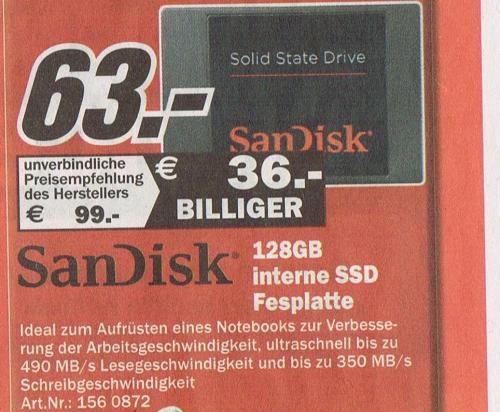 SanDisk SSD 128GB (SDSSDP-128G) bei MediaMarkt Sonntagsverkauf ( lokal Rostock Brinckmannsdorf! )