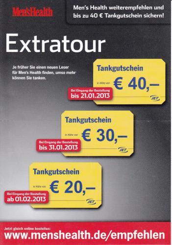 Men's Health (1Jahr) für Effektiv 9€ mit 40€ Jet Tank Gutschein.