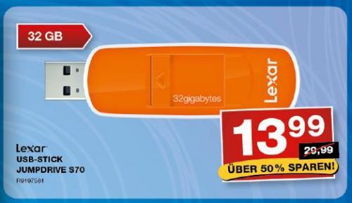 [offline][Staples] 32GB USB 2.0 Stick Lexar Jumpdrive S70 - 13,99