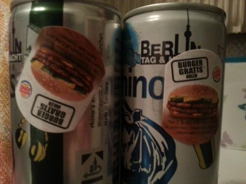 1 rhinos Aktions-Dose kaufen und Burger King Gutschein für zwei Double-Chilli-Cheese Burger zum Preis von einem erhalten!