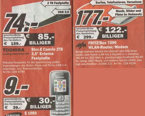 [Lokal MM Rostock Brinck.] FritzBox 7390 177€, 2TB Store.E 74€, E1050 9€