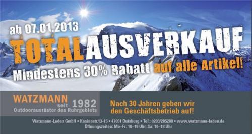 Watzmann Laden Duisburg Totalausverkauf  ~ 30% Rabatt