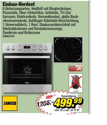 Zanussi Einbau-Herdset bei Poco-Domäne 499,99€
