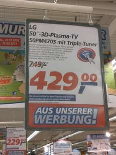 [Lokal] LG 50PM470S 127 cm (50 Zoll) 3D Plasma-Fernseher