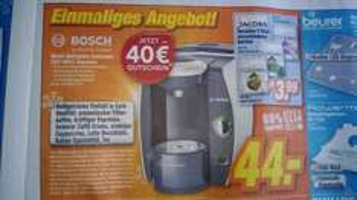 [Expertklein] Bosch Tassimo TAS4011 für 44€ inkl. 40€ Tassimo Gutschein!