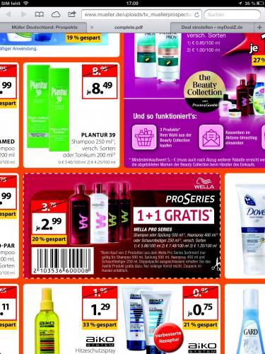 @Müller:Wella Pro Series  Shampoo oder Spülung 500 ml für 99,5 Cent