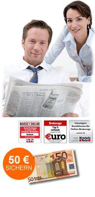 Für netbank-Kunden: 50 EUR bei Depoteröffnung