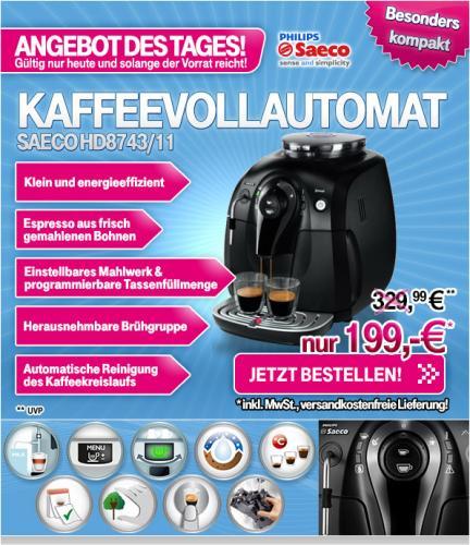 Saeco HD 8743/11 Xsmall Steam Kaffeevollautomat mit 5 Euro Gutschein für 194 Euro Versand kostenlos