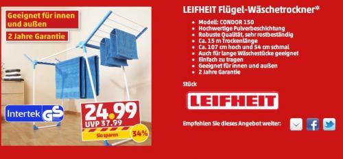 LEIFHEIT Flügel-Wäschetrockner für 25€ bei Penny