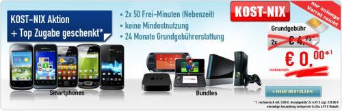 Kost-Nix Handys mit Schubladenverträgen (Apple TV, Samsung Galaxy mini, Xperia tipo, ...)